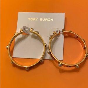 Tory Burch Pearl Hoops Earrings